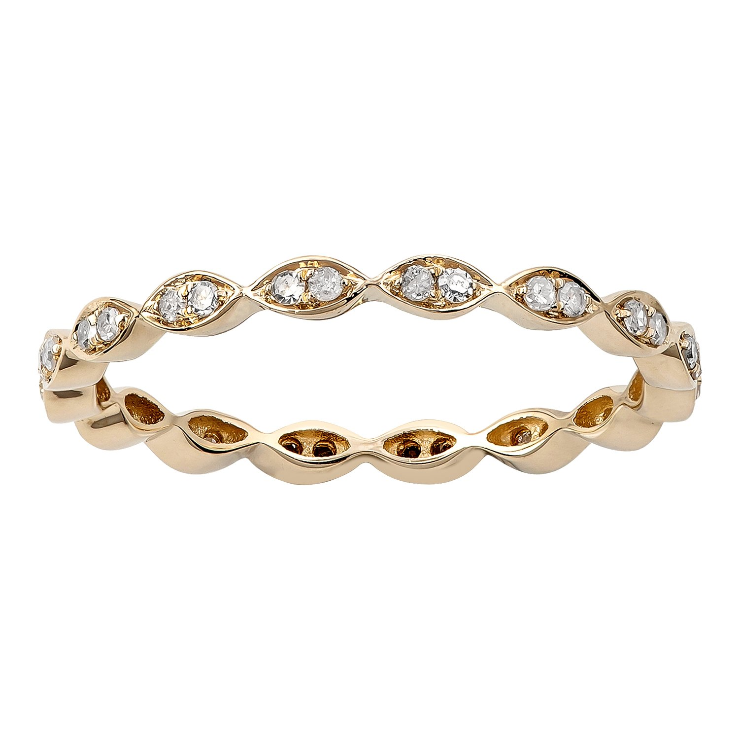 10k Yellow Gold Stackable Eternity Diamond Wedding Band (1/4 cttw, I-J Color, I2-I3 Clarity)