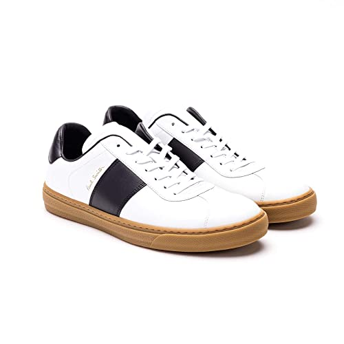 79baed78c5d824 Paul Smith Men's M1SLEV08AMOLV01 White Leather Sneakers: Amazon.co.uk: Shoes  & Bags