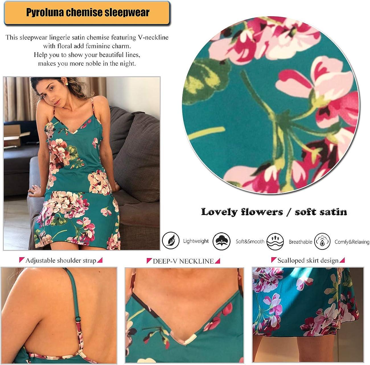 Satin Sleepwear Sexy Nightgown Chemise Full Slip Silk Negligee Floral Nightie Nightdress Bridal Lingerie for Women: Clothing