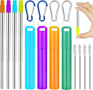 Metal Straws Reusable Collapsible Stainless Steel Straws Portable Telescopic Drinking Straw for Tumbler Cold Beverage with Aluminum Key-chain Cases, Cleaning Brushes