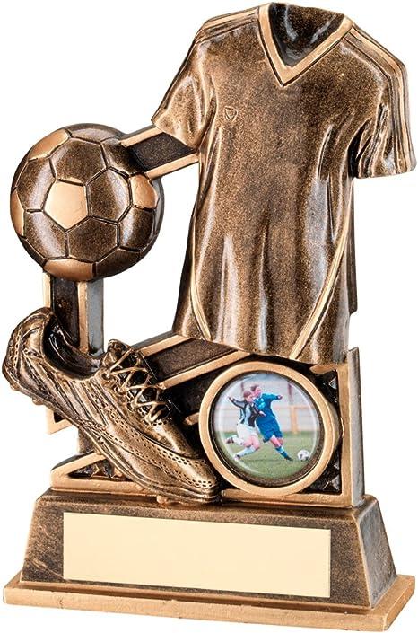 TrophyMaker UK Fútbol Trofeo con Bronce/Oro fútbol Camisa y Pelota ...