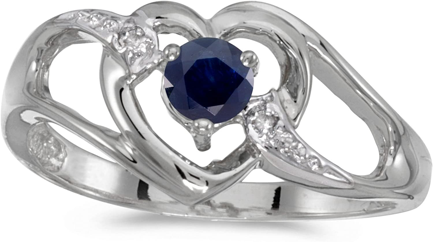 Jewels By Lux 14k White Gold Genuine Birthstone Solitaire Round Gemstone And Diamond Heart Wedding Engagement Ring