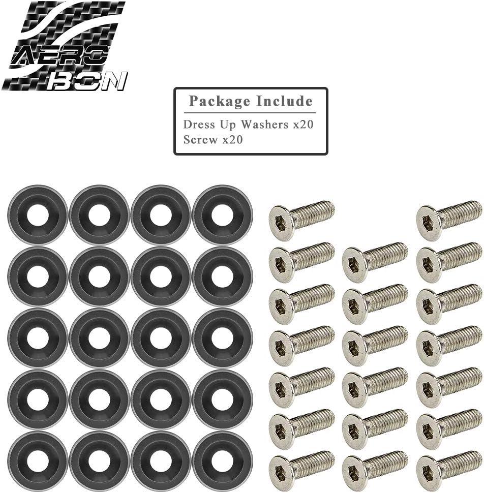 20 Pieces Kit Grey CNC Billet Aluminum Bumper Fender Washer//Bumper Washer Bolt//Engine Bay Dress Up