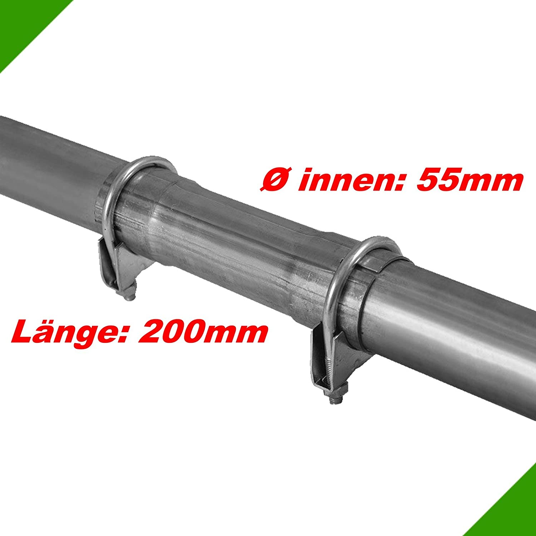 Ø 55x200mm Universal Reparaturrohr Rohr mit Aufweitung Auspuff Schelle Fröschl Autozubehör