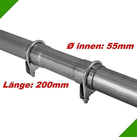 Ø 55x200mm Universal Schelle Reparaturrohr Auspuff Rohr mit Aufweitung Abgasanlage Doppelschelle Rohrschelle Rohrverbinder Kl