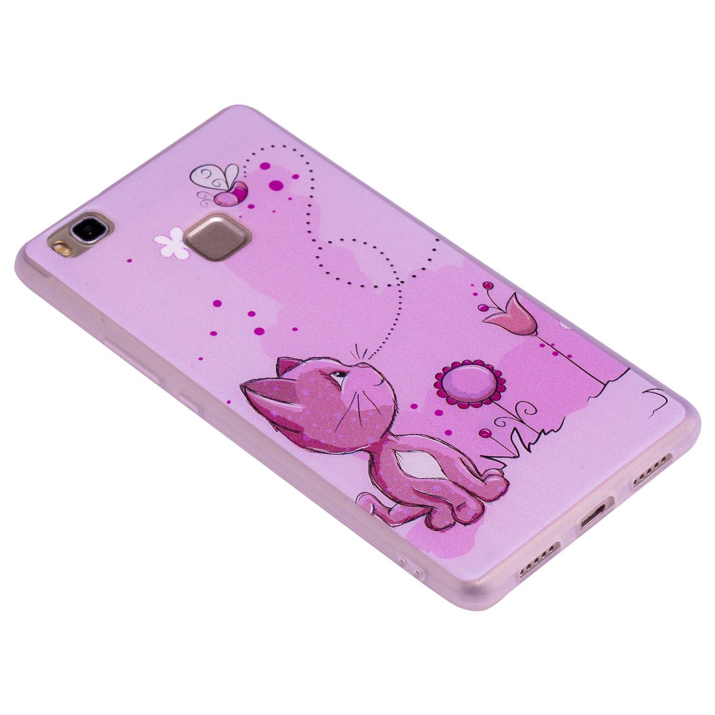 COZY HUT Custodia Cover Huawei P9 Lite Silicone Cover Bumper Case Antiscivolo AntiGraffio Antiurto Ultra Sottile TPU Morbida Protettiva Case per Huawei P9 Lite Gatto Rosa