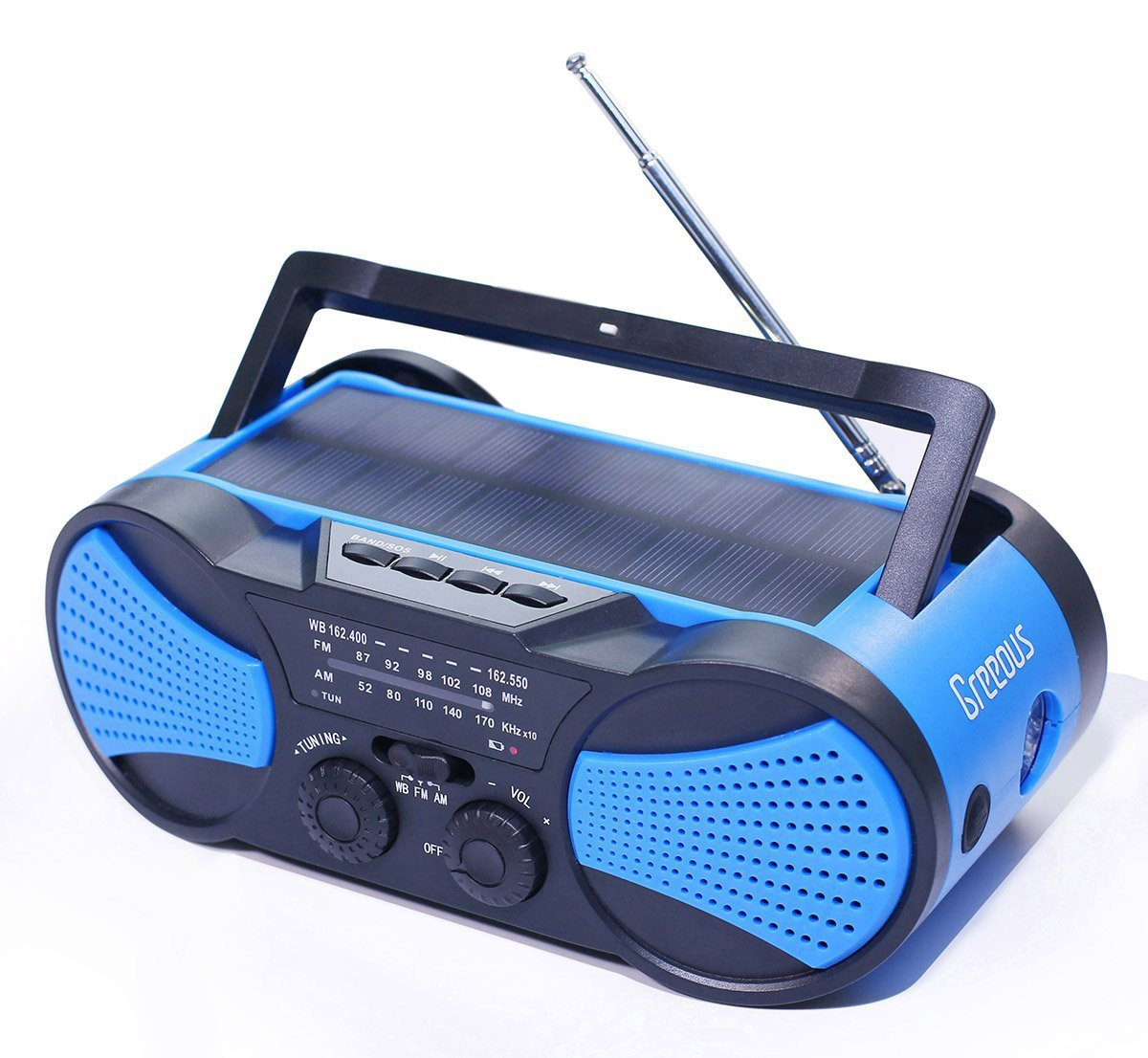 Hurricane Radio Weather Radio,Battery, Hand Crank, Solar Powered, AM/FM/NOAA/SOS,4000mAh USB Charger for Phone,Flashlight& Reading Lamp,Emergency kit,Blue,Greeous