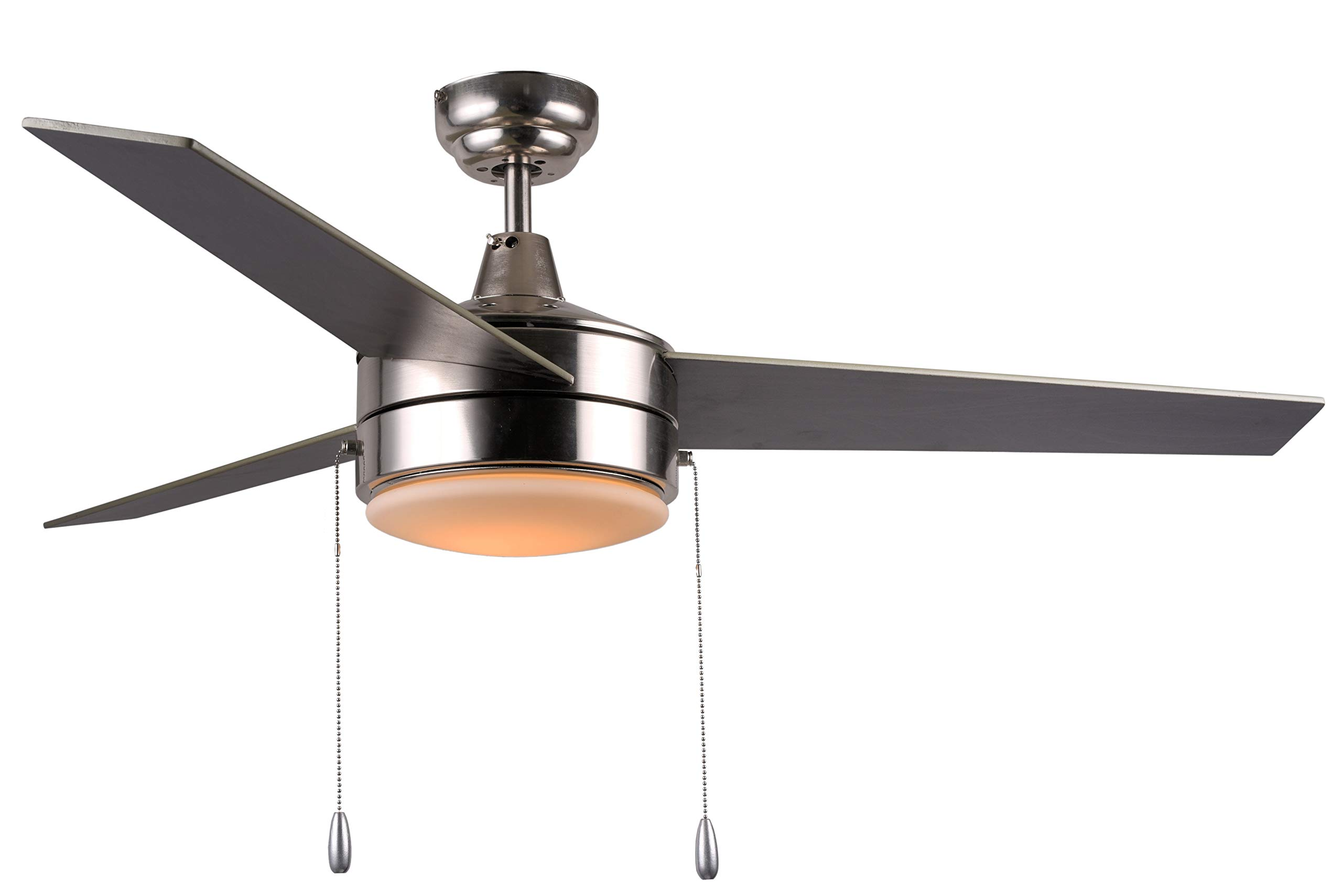 Hauslane CF3000 52 inch Modern 3 Blade Ceiling Fan with Lights | Bright LED Lamp and Three Reversible Blades | Suitable for 350 Sq Ft Room, Brushed Nickel Finish