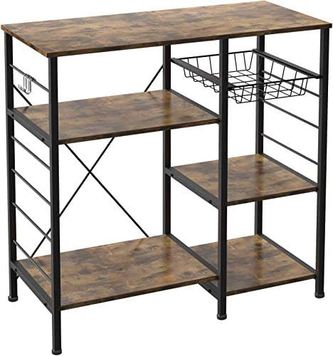 IRONCK Industrial Kitchen Baker s Rack, Kitchen Island Utility Storage Shelf, Coffee Bar Microwave Stand with 6 Hooks, Metal Frame, Simple Assembly, Vintage Brown