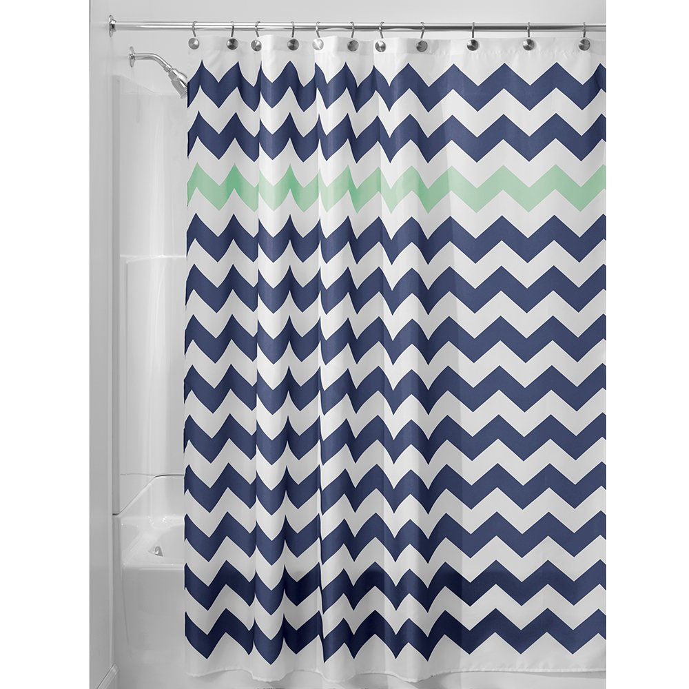 InterDesign Chevron Shower Curtain, 72 x 72-Inch, Aruba/Coral 43025