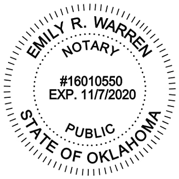 Round Notary Stamp For State Of Oklahoma Self Inking Stamp Top Brand Unit With Bottom Locking Cover For Longer Lasting Stamp 5 Year Warranty