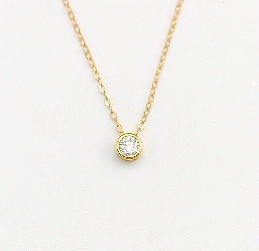 Amazon Com Dainty Tiny Cubic Zirconia Necklace Cz Diamond Necklace