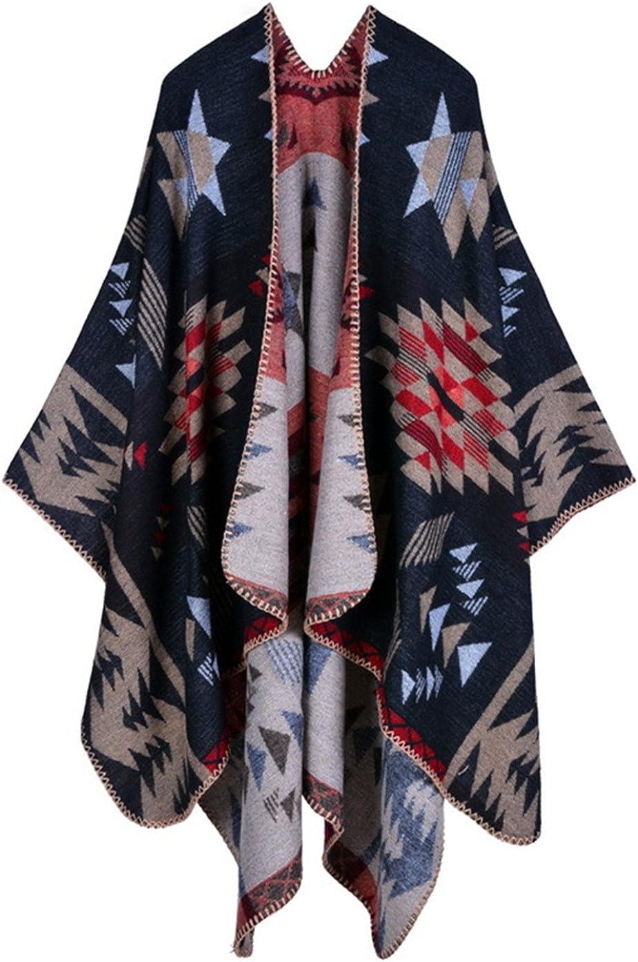 Beunique Femme Poncho Tricot Cape Ouverture Chaud Echarpe Mode Ch/âle Automne Hiver Mode