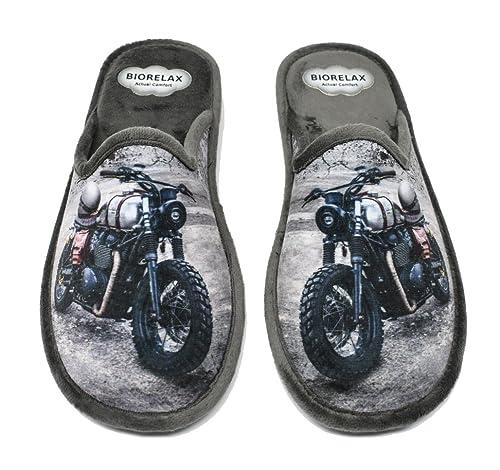 BIORELAX Zapatillas de casa para hombre muy cómodas con cámara 1451 - Gris - moto (