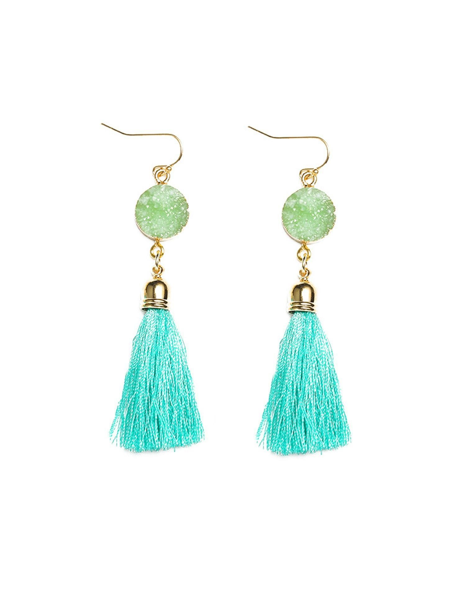 Goldenfox Women Casual Artificial Jade Tassel Geometric Hook Pierced Drop Earrings