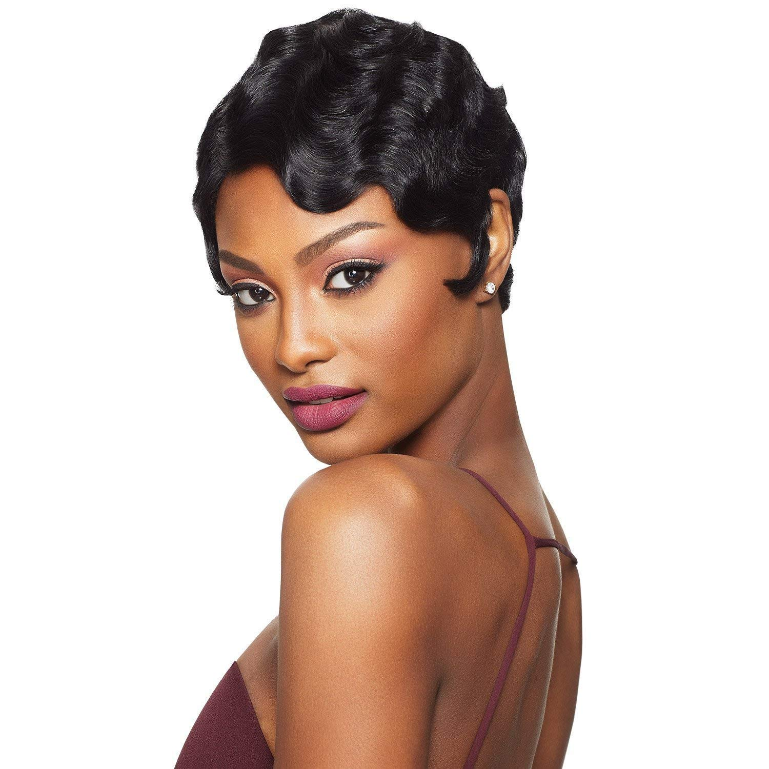 Amazon Com Black Wine 100 Human Hair Finger Wave Wig Sissi S Fashion Hair Pixie Cut Wig Big Curls Short Remy Hair Wig Water Wave Mommy Wig For Fashion Women 1b Beauty