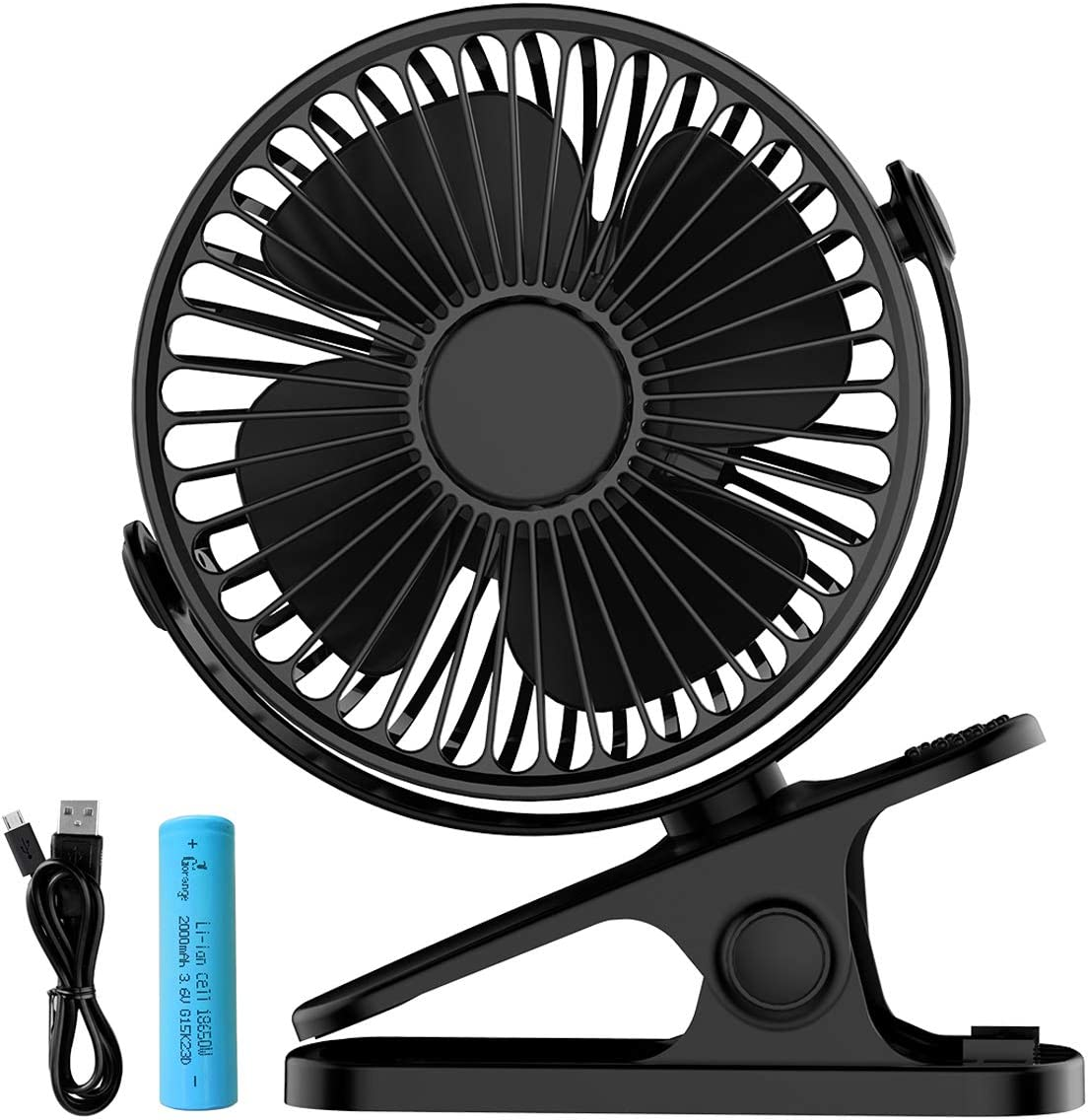 USB Desk Clip on Fan,Mini Portable Personal Fan with Rechargeable Battery,360 Adjustable 3 Speed Desktop Fan Cooling Fan for Baby Stroller Home Office Outdoor Travel
