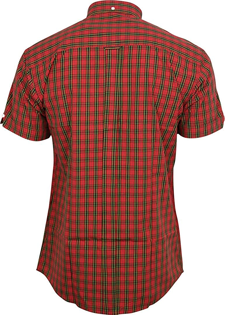 Relco London Mens Tartan Shortsleeve Button Down Cotton Shirt