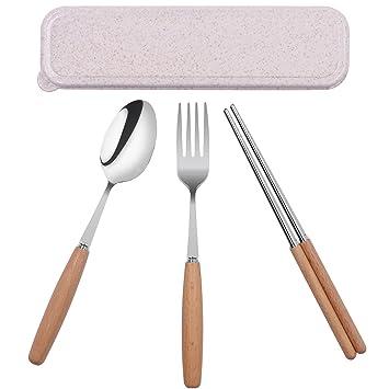 Startostar Set de cubiertos de acero inoxidable con mango de madera y caja de regalo 5 piezas para casa, restaurante, Camping, Viajes, Escuela, ...
