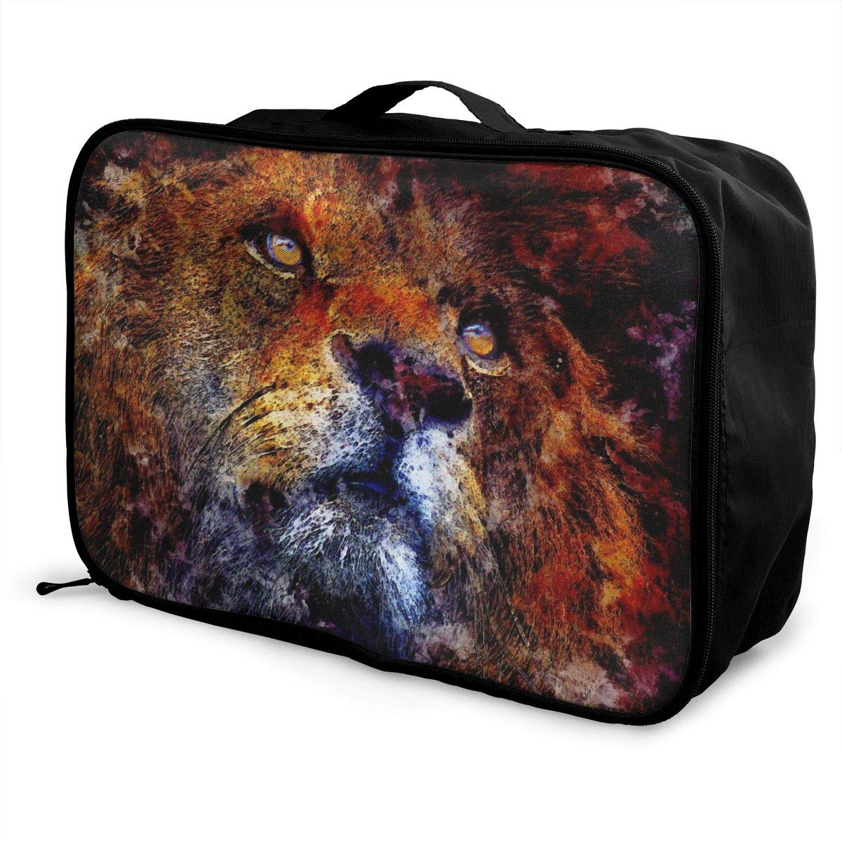 Lion Watercolor Paint Splash Travel Lightweight Waterproof Foldable Storage Carry Luggage Large Capacity Portable Luggage Bag Duffel Bag