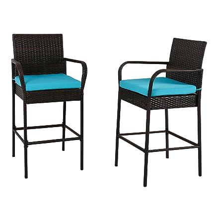 Kinbor Outdoor 2 Pcs Outdoor Bar Height Chair Set Patio Wicker Rattan  Counter Dining Desk Bar