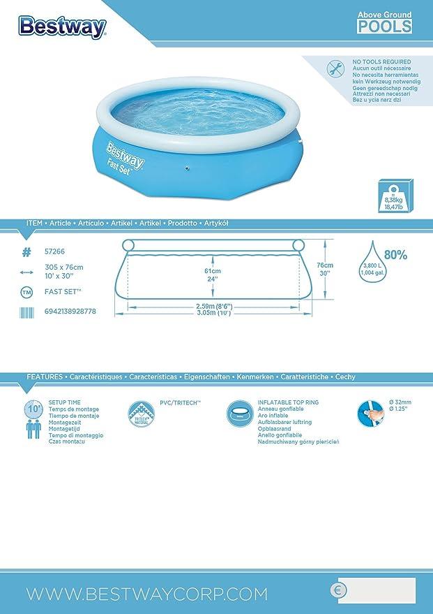 Bestway 57266 - Piscina hinchable Fast Set con anillo hinchable, 305 x 76 cm, 3.638 litros, azul: Amazon.es: Jardín