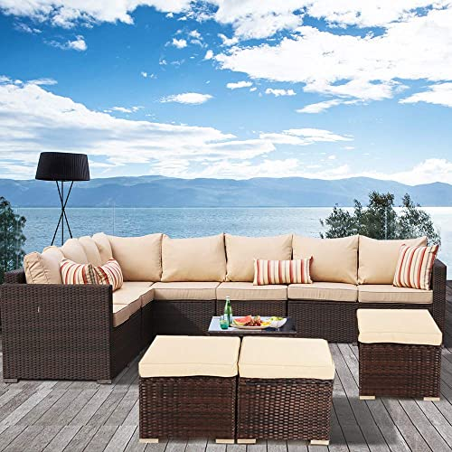 JETIME Patio Furniture Outdoor Conversation Set Valentine Decor 9pcs Garden Seating Outside Couch Brown PE Wicker Khaki
