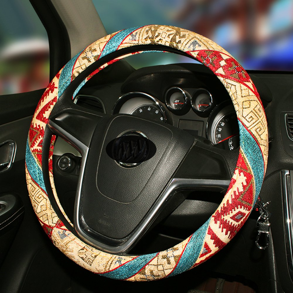 D Unique Bohemian Car Steering Wheel Cover Universal 38cm//15inch With Natural Coarse Flax Material Anti Slip /& Sweat Absorption
