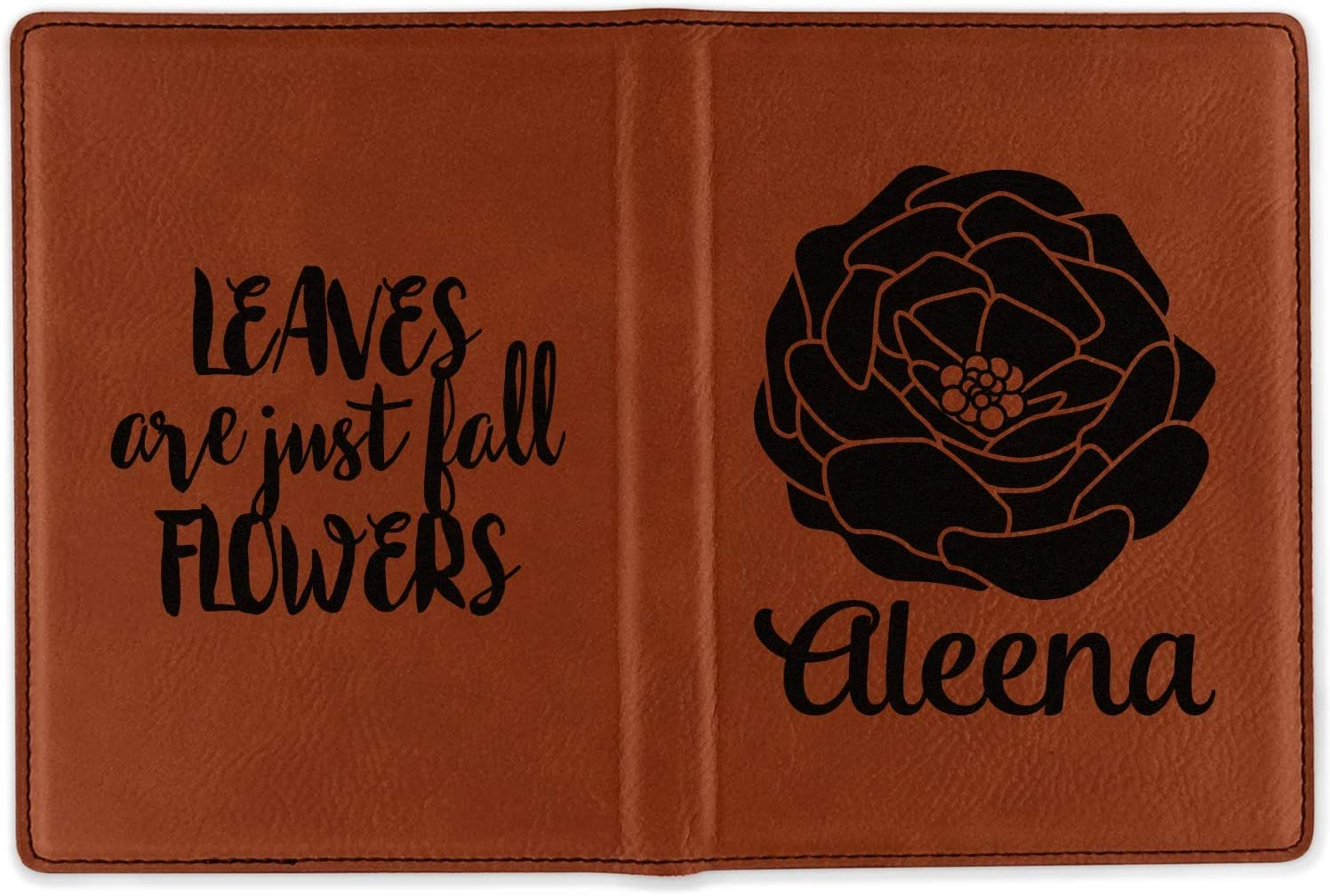Double Sided Personalized Fall Flowers Leatherette Passport Holder