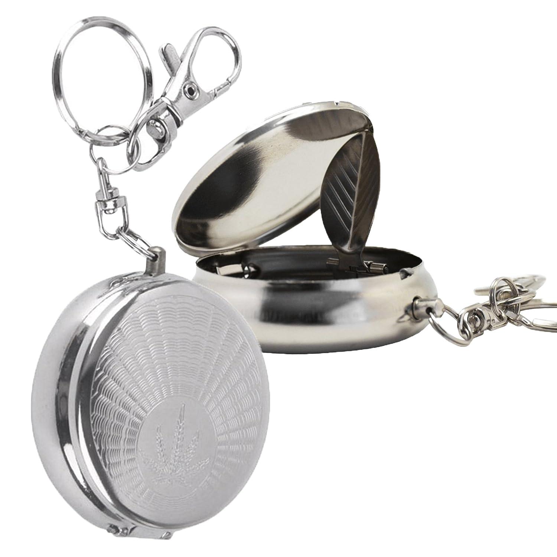 Meta-u redondos de bolsillo cenicero de acero inoxidable portátil con cadena para llavero VEDABC2024