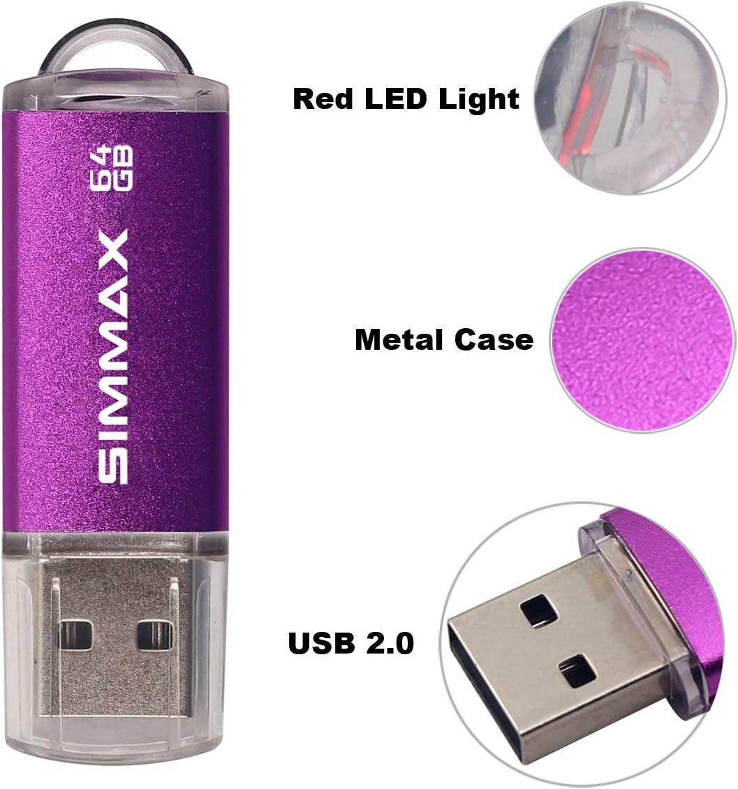 64GB Blue SIMMAX Memory Stick 64GB USB 2.0 Flash Drives Thumb Drive Pen Drive