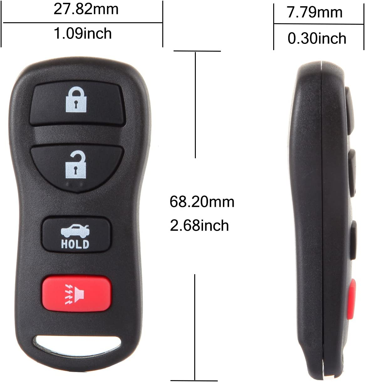 SCITOO Keyless Entry Option Replacement for 4 Buttons 2002-2017 Nissan Maxima Murano 350Z Quest Armada Infiniti I35 G35 2PCS FCC CWTWB1U821