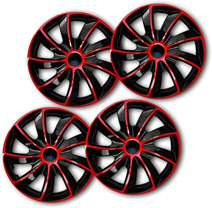 Universal Fit For Cars And Other Vehicles QUAD BICOLOUR 15 Inch Set Of 4 Wheel Trims