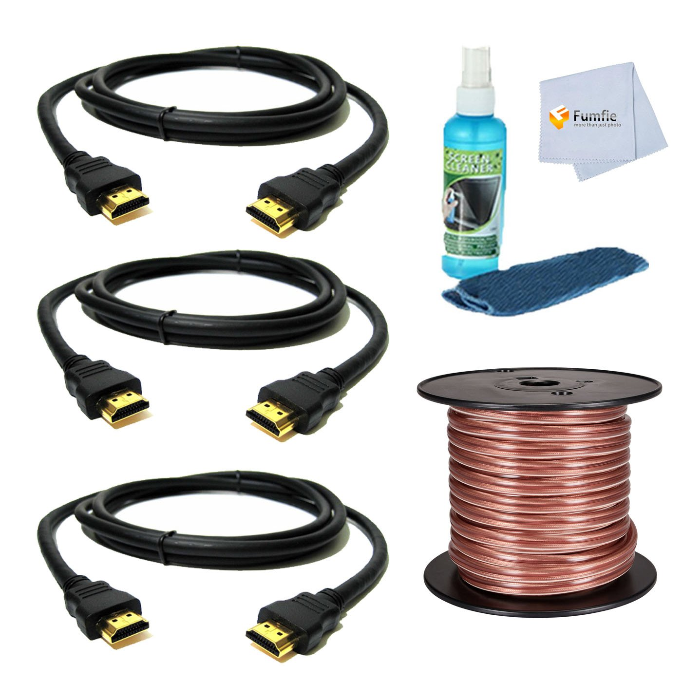 Accessory Kit for Denon, Onkyo, Yamaha, Sony, Pioneer Receivers Includes: 50ft Speaker Wire + 3 HDMI Cables + Home Theater TV Cleaning Cloth by Fumfie