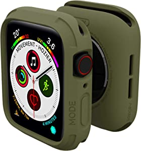 elkson Compatible with Apple Watch Series 6 SE 5 4 Bumper case Cover 44mm iwatch Quattro Series Cases Fall Protection Durable Military Grade Protective TPU Flexible Shock Proof Resist 44 mm Green