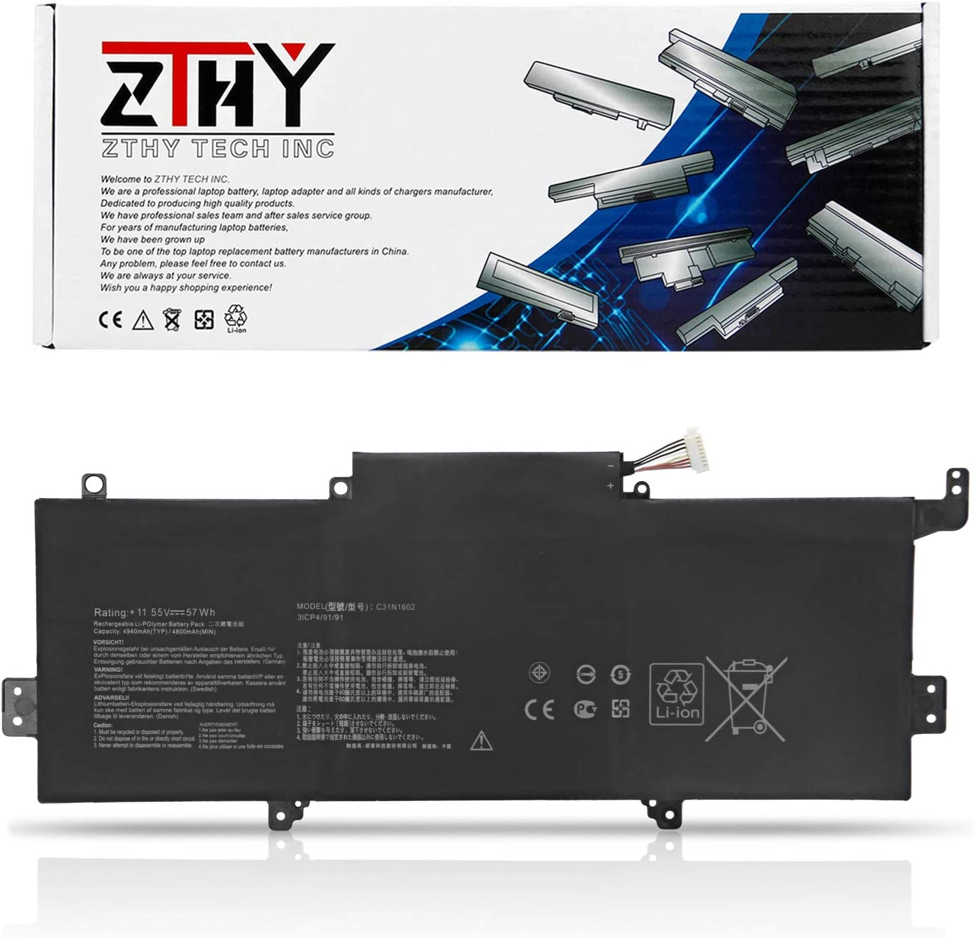 ZTHY C31N1602 Laptop Battery Replacement for Asus ZenBook U3000U UX330 UX330U UX330UA UX330UAK UX330UA-1A UX330UA-1B UX330UA-1C UX330UA-FB018R FB161T Series C31N16O2 0B200-02090000 11.55V 57Wh