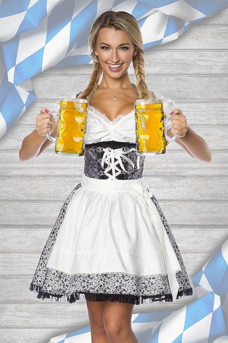 Dirndline Premium-Dirndl /& Bluse aus edlem Jaquard Oktoberfest Spitzenbesatz