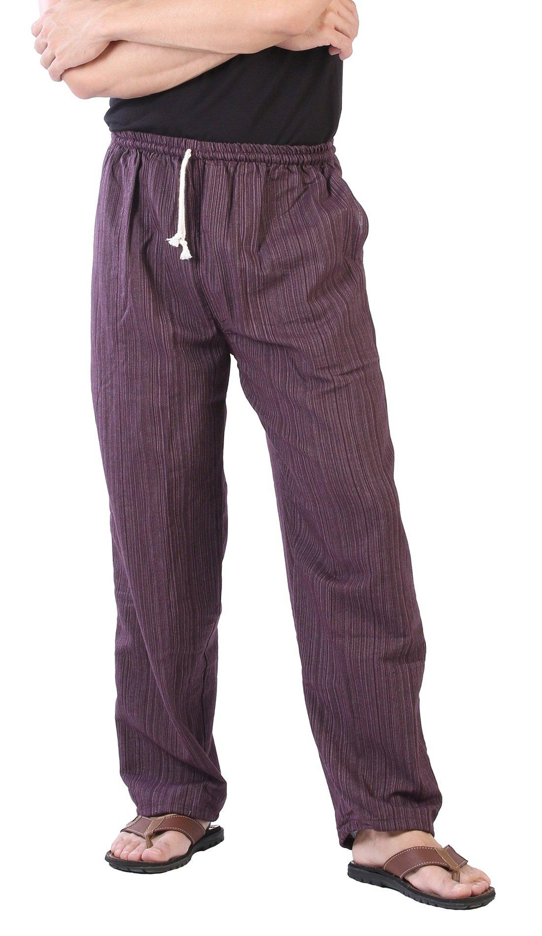 CandyHusky Pin Stripes Cotton Joggers Pajama Yoga Pants Elasticed Waist Drawstring (Dark Purple)