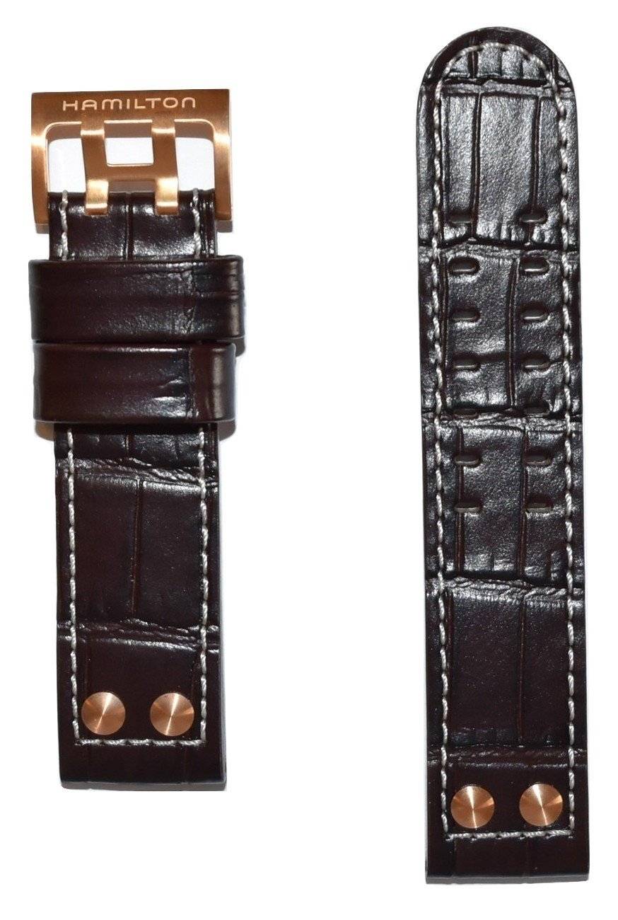 Authentic Hamilton Khaki X-Wind 22mm Brown Leather Band Strap For Watch Models: H76646533, H77696533
