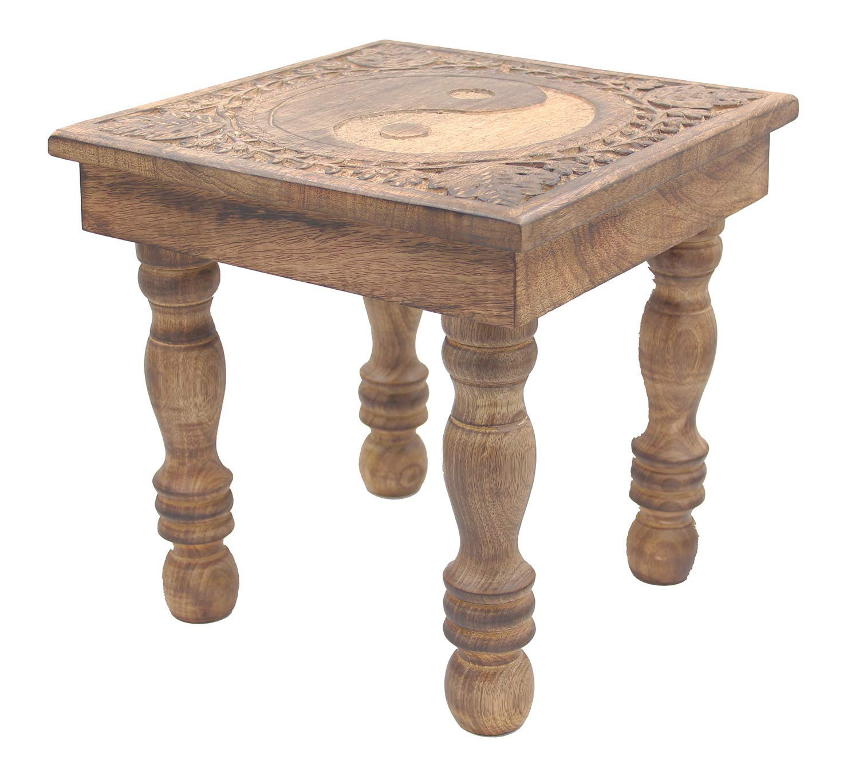 DharmaObjects Solid Mango Wood Hand Carved Prayer Puja Shrine Altar Meditation Table (Yin Yang)