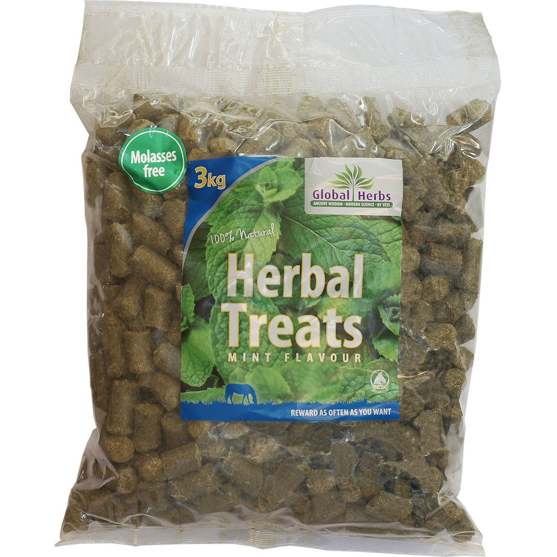 Global Herbs Herbal Mint 3kg Horse Treats 3kg Brown by 3L Global Herbs