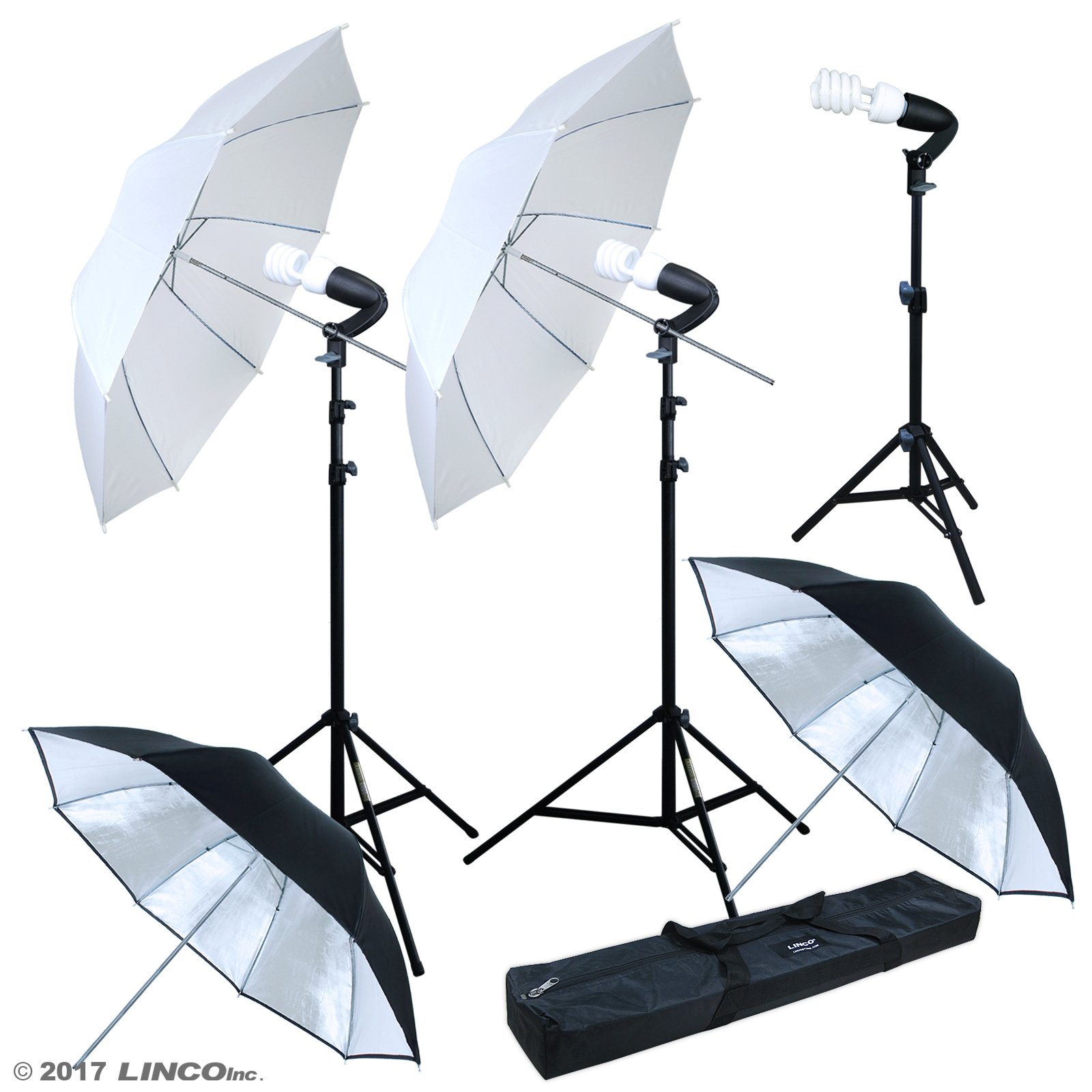 Linco Lincostore Photography Photo Portrait Studio Lighting 600W Umbrella Continuous Lighting Kit for Video Shooting AM126 by Linco