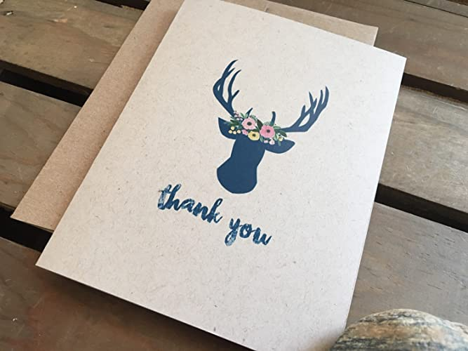 Amazon Com Thank You Cards Deer Head Antlers Personalized