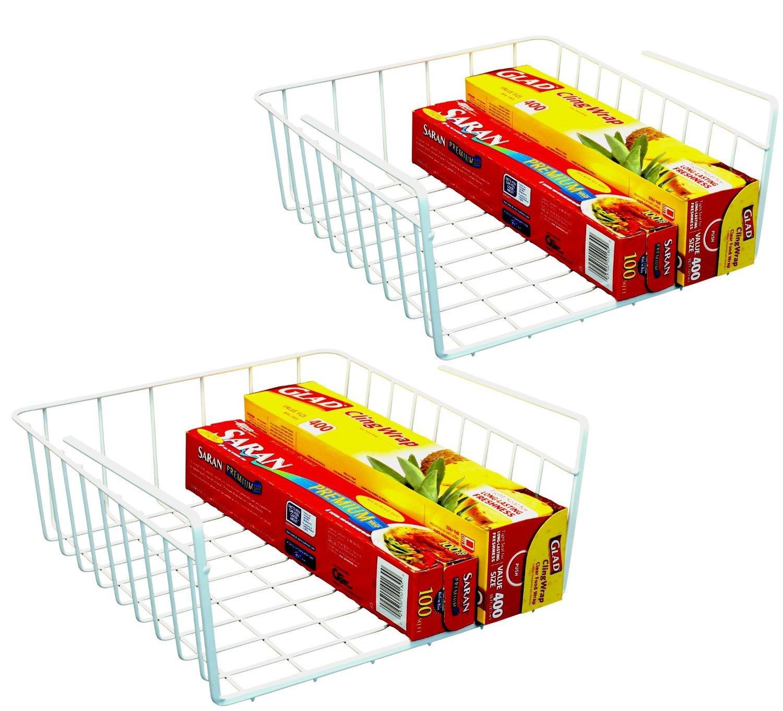 Decobros 2pk under shelf basket wrap rack white for Under shelf basket wrap rack