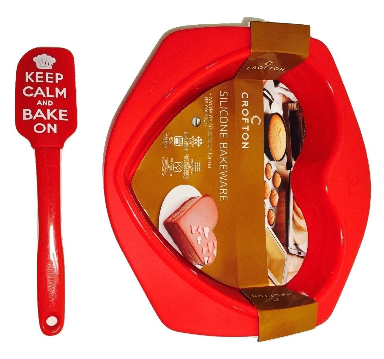 Amazon.com: Novelty Heart-shaped Red Silicone Baking Pan & Spatula That Says