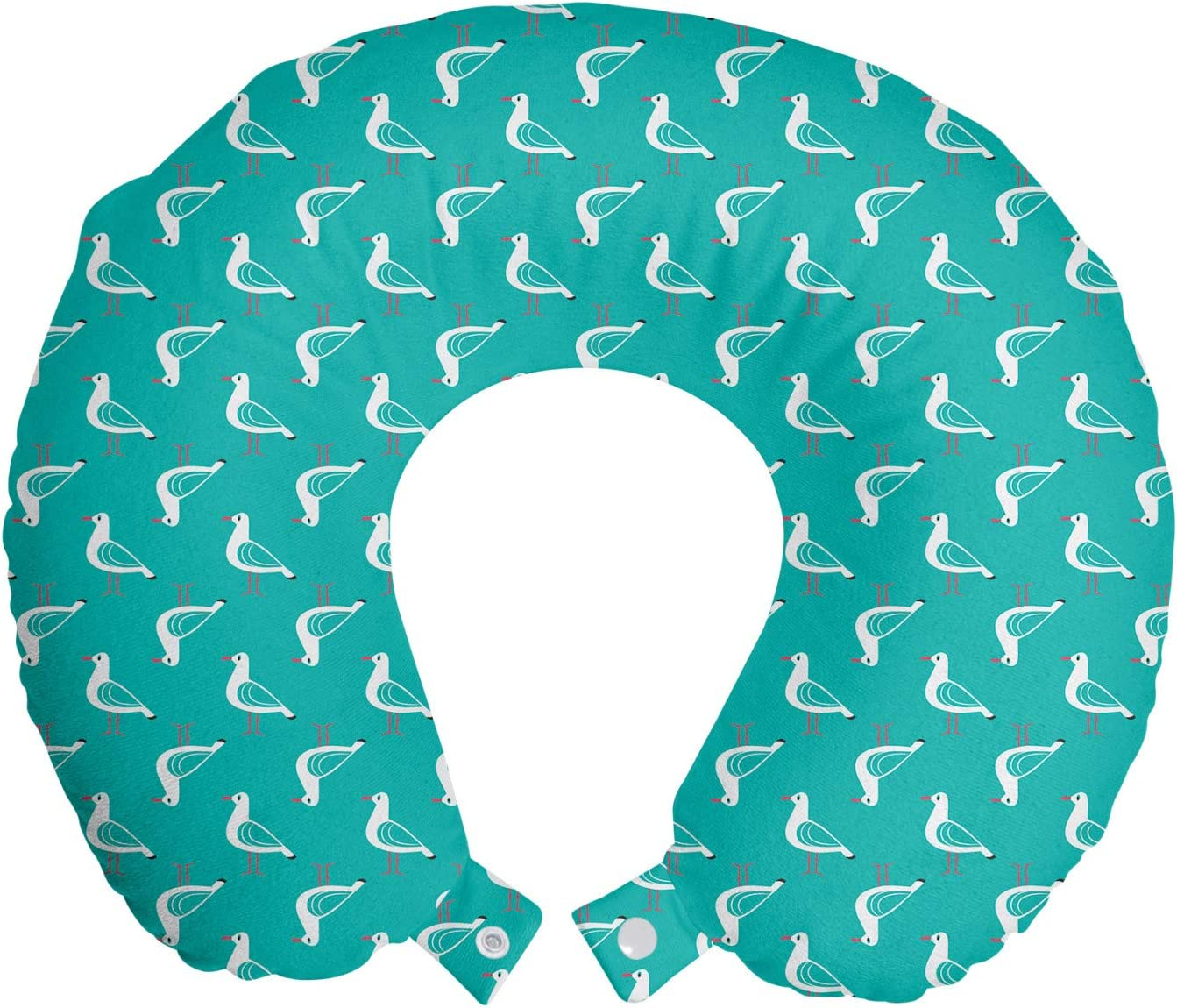 Amazon Com Ambesonne Birds Travel Pillow Neck Rest Maritime Themed Print Of Seagulls Nautical Creatures Oceanic Sea Summer Memory Foam Traveling Accessory For Airplane And Car 12 Dark Seafoam And White Home