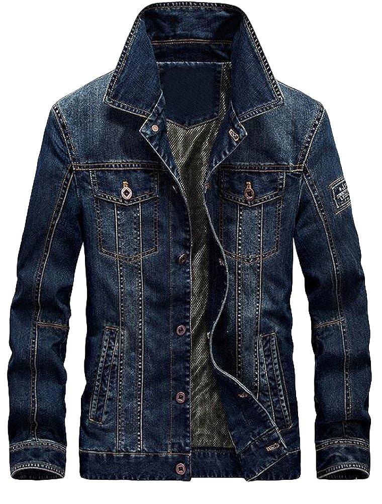 Lavnis Men's Winter Distressed Denim Trucker Jacket Slim Fit Casual Pockets Button Down Jacket VGS566