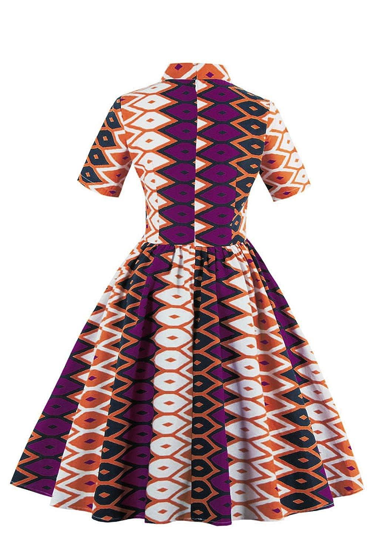d56e8c0b300 Amazon.com  Foshow Womens African Print Vintage Dress Plus Size Holiday  Dashiki Midi Dresses  Clothing
