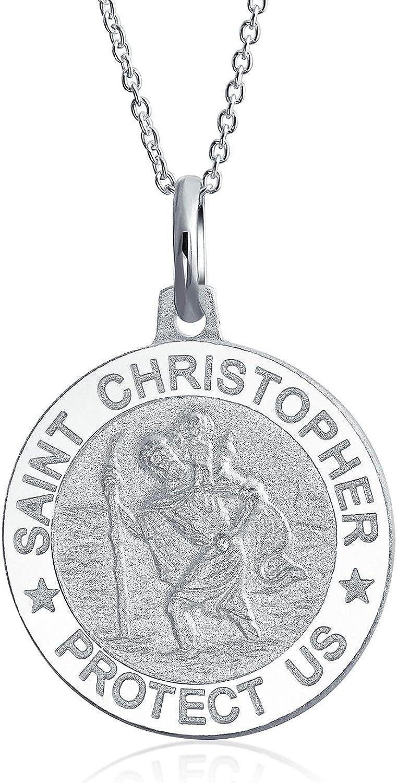 Medalla Religiosa Medallón Parton Viajes Seguros San Cristóbal Collar Colgante Mujer Y Para Hombres Plata Esterlina 925