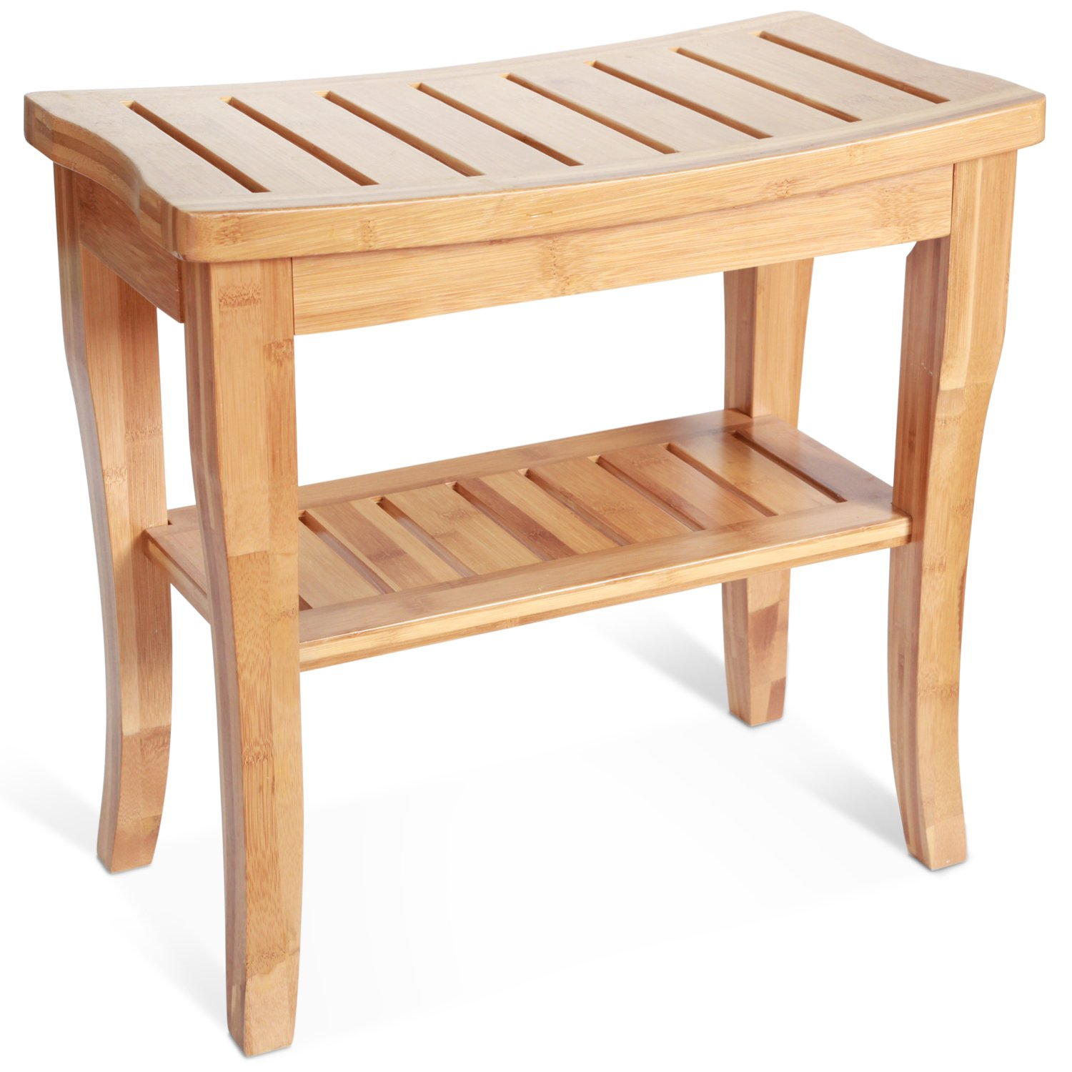 Amazon Deluxe Bamboo Shower Seat Bench with Storage Shelf